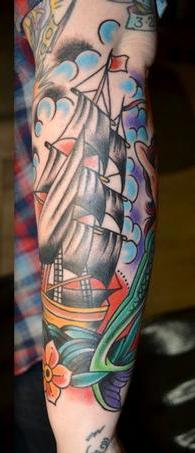 Clouds Pirate Ship And Flowers Tattoos On Sleeve