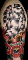 Clouds Pirate Ship And Roses Tattoos On Half Sleeve