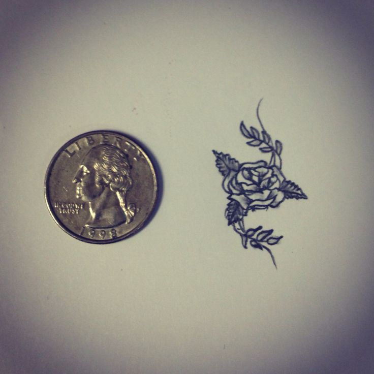 Coin And Cute Grey Rose Tattoo