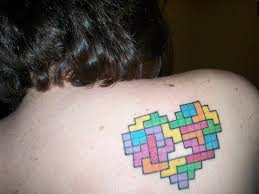 Color Ink Tetris Heart Tattoo On Back Shoulder
