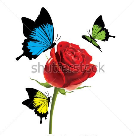 Colorful butterflies On A Rose Tattoo Design
