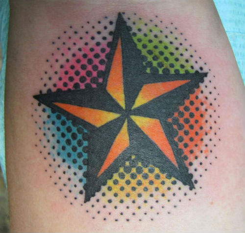 Colorful Dots And Nautical Star Tattoos