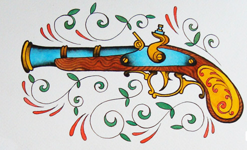 Colorful Flintlock Pistol And Swirls Tattoo Flash