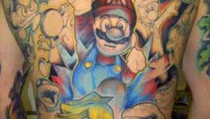 Colorful Mario Tattoos On Back Body