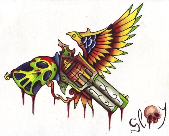 Colorful Melting Skull Pistol With Wing Tattoo Design