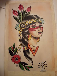 Colorful Native American Girl And Flower Tattoos Page