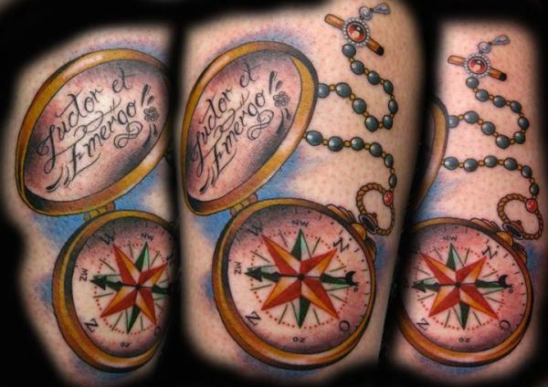 Colorful Nautical Compass With Rosary Beads Tattoos