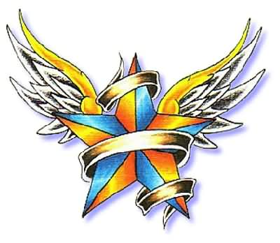 Colorful Nautical Star And Angel Wings Tattoo Design