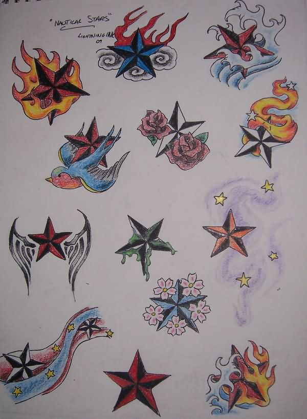 Colorful Nautical Stars And Flower Tattoo Designs