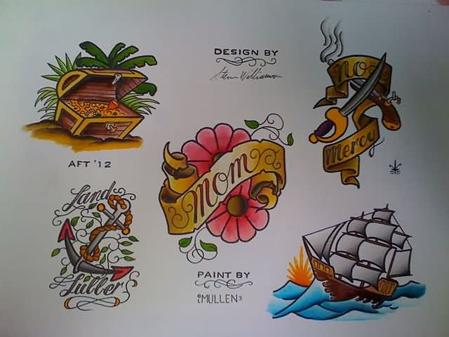 Colorful Nautical Tattoo Designs Sheet