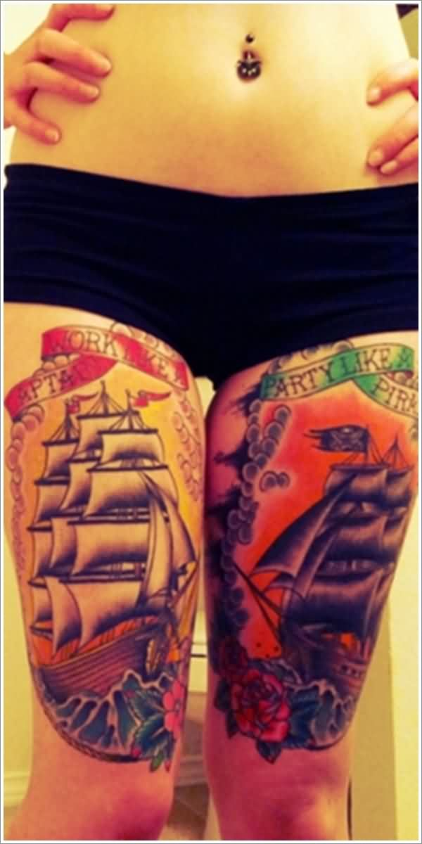 Colorful Nautical Tattoos On Both Thigh