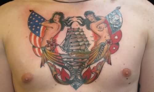 Colorful Nautical Tattoos On Center Of Chest
