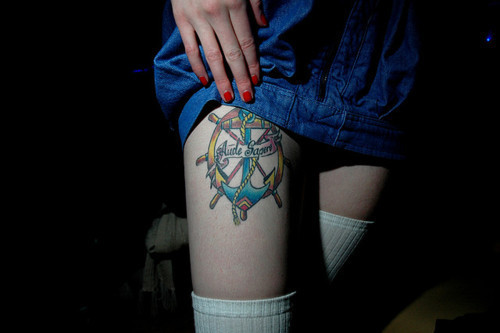 Colorful Nautical Tattoos On Right Thigh