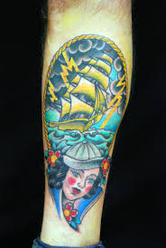 Colorful Nautical Tattoos On Slim Leg