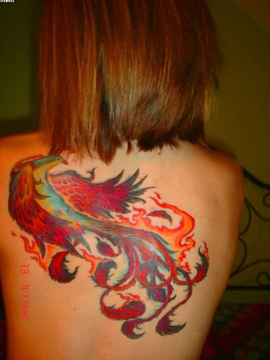 Colorful Phoenix And Flames Tattoo On Back