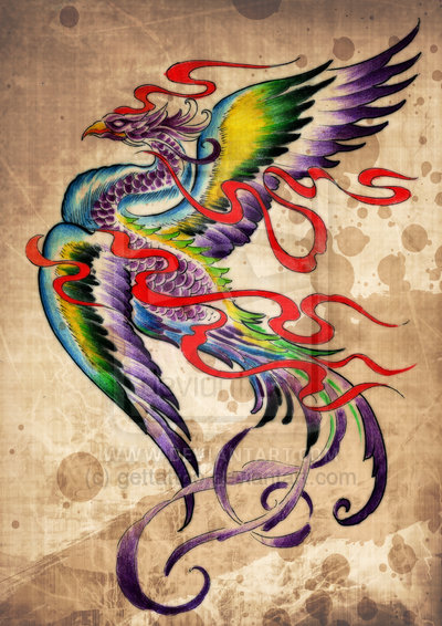 Colorful Phoenix And Red Flames Tattoos Poster