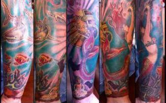 Colorful Pirate Tattoos On Sleeve