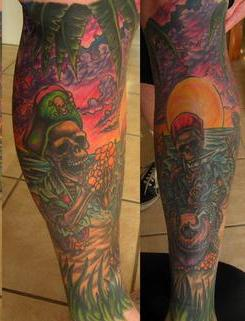 Colorful Pirate Tattoos On Whole Leg