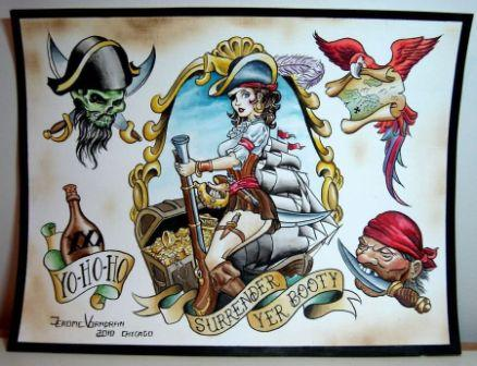 Colorful Pirate Tattoos Sheet