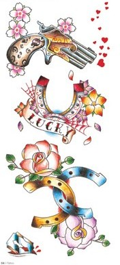 Colorful Pistol Horseshoe And Flower Tattoo Designs