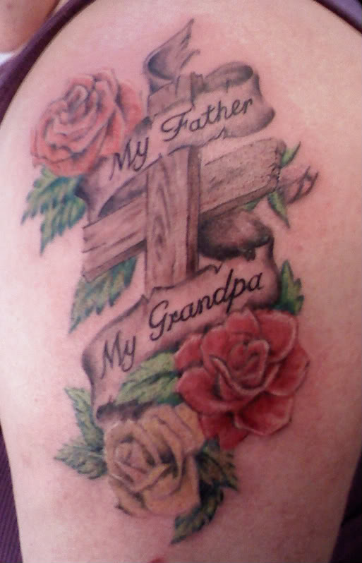 Colorful Roses And Wooden Cross Tattoos