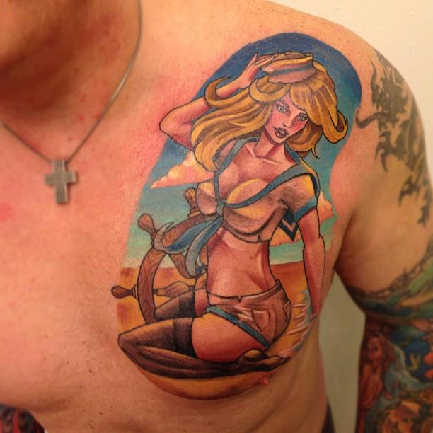 Colorful Sailor Pin Up Girl Tattoo Picture On Chest