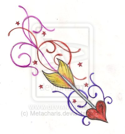 Colorful Swirls And Sagittarius Tattoo Design