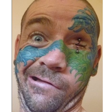 Colorful Tattoos On Face Of People