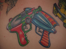 Colorful Water Pistols Tattoos For Boys