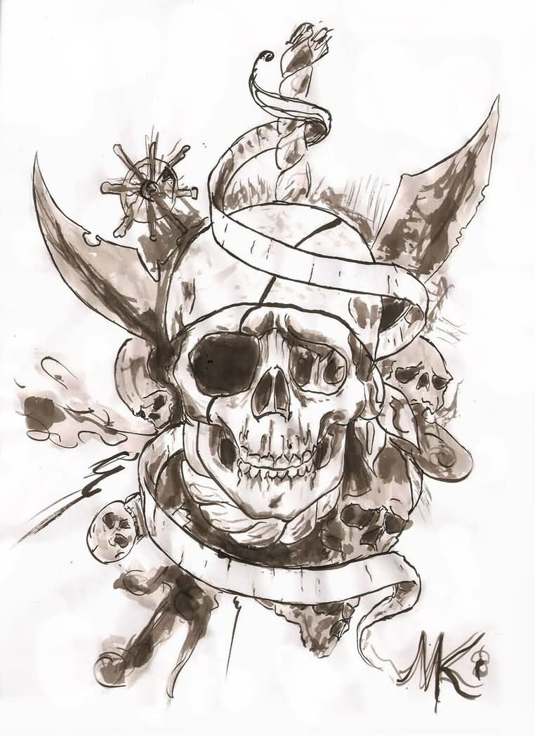 Compass Pirate Skull And Banner Tattoos Sketch