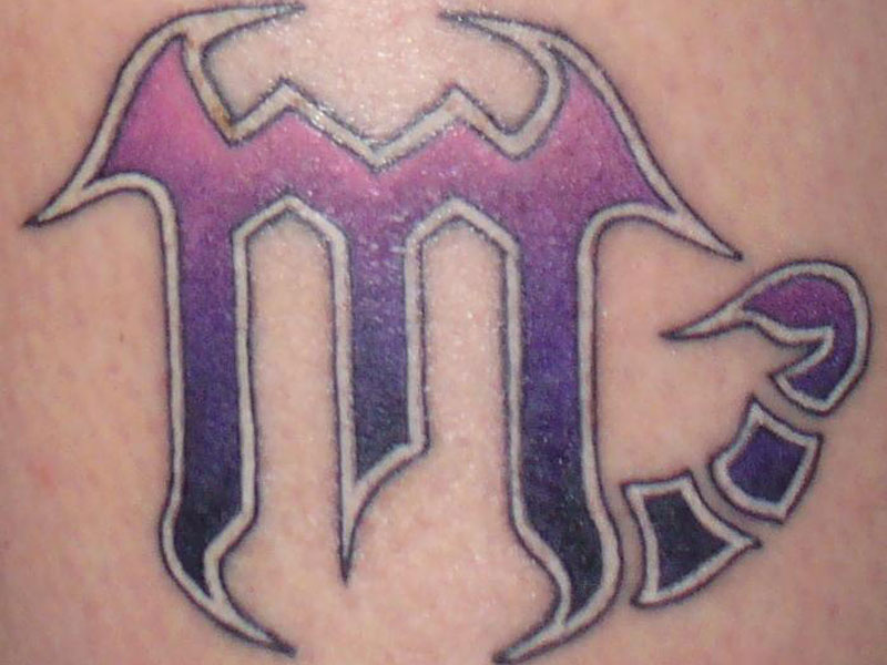 Cool Scorpio Zodiac Sign Close Up Tattoo