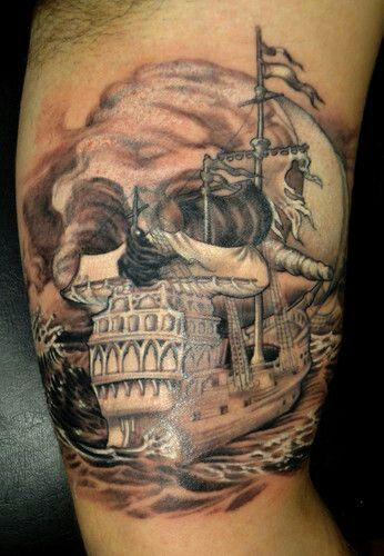 Cool Skull Pirate Ship Tattoo On Muscles
