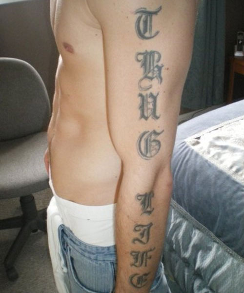 Cool Thug Life Tattoo On Side Of Arm