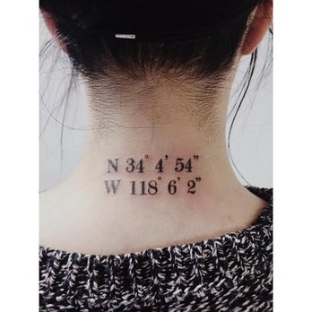 Coordinates Back Neck Tattoos