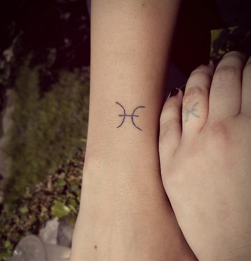Couple Get Sweet Pisces Sign Tattoos