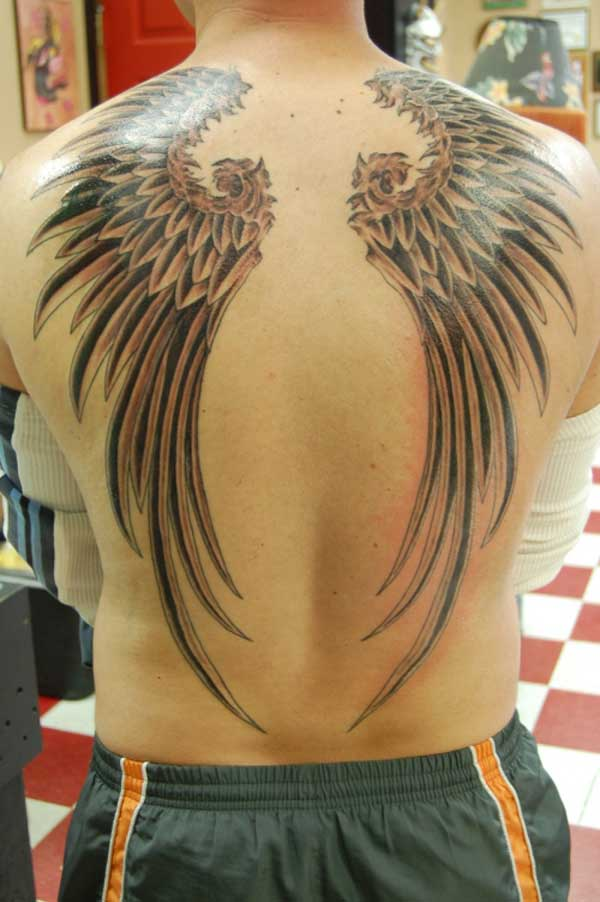 Couple Of Angel Wings Tattoos On Back
