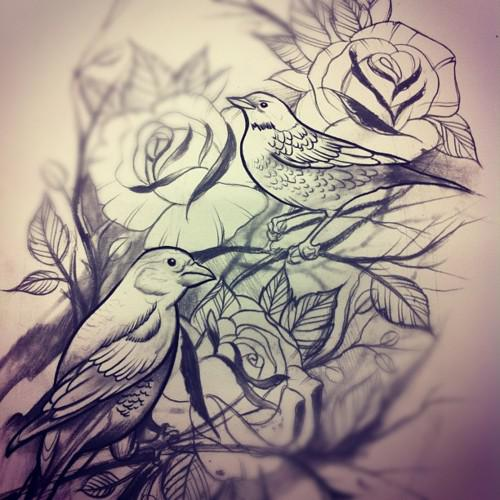 Couple Of Birds And Rose Tattoos Sketch