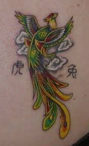 Couple Of Chinese Symbols And Phoenix Tattoos