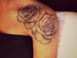 Couple Of Grey Rose Tattoos On Shoulder