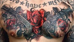 Couple Of Pistol And Rose Vine Tattoos On Full Chest