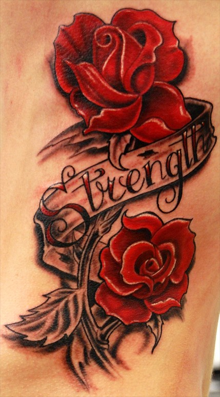 Couple Of Red Rose And Strength Banner Tattoos