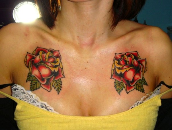 Couple Of Red Rose Tattoos On Chest