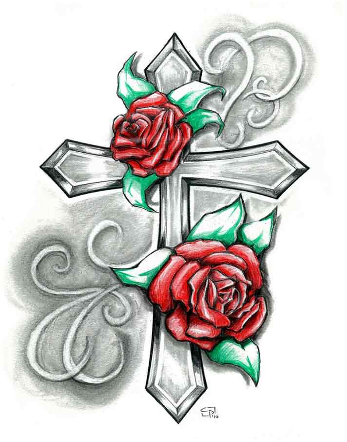 Couple Of Red Roses And Grey Cross Tattoo Designs