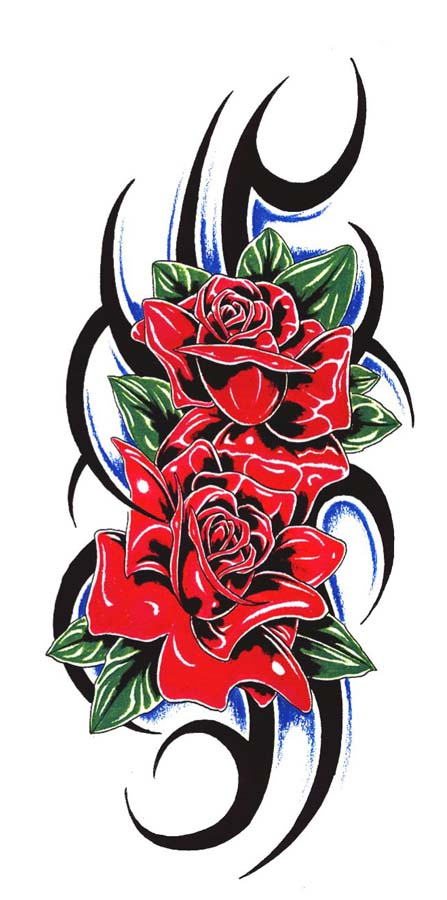 Couple Of Rose And Tribal Tattoo Designs