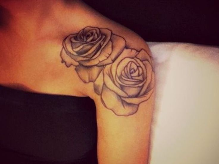 Couple Of Rose Tattoos On Shoulder