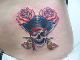 Couple Of Roses And Pirate Skull Tattoo