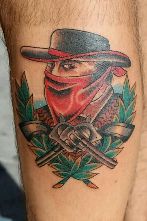 Cowboy And Double Pistol Tattoos