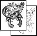 Cowboy Skull And Crossed Pistol Tattoo Designs