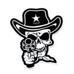 Cowboy Skull With A Black Pistol Tattoo Design