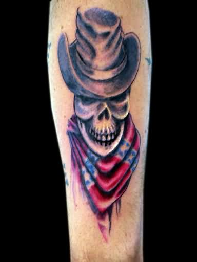 Cowboy Skull With Rebel Flag Tattoo